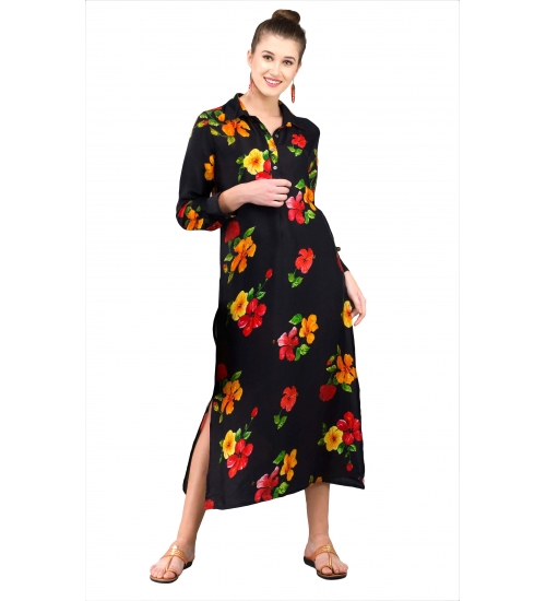 Hibiscus Flower Colorful Women Long Kurti Printed Modal Satin