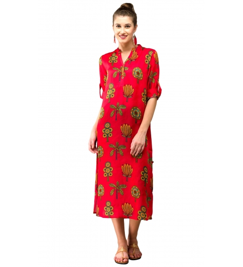 Tree Women Long Kurti Colorful Printed Modal Satin