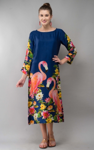 Lotus Flamingo Women Long Dress Colorful Printed Modal Satin