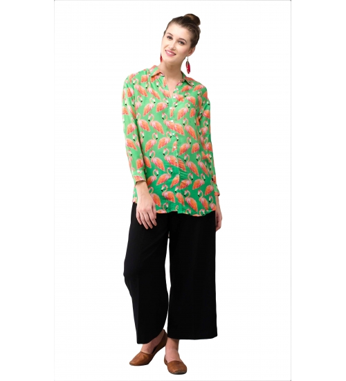 Flamingo Women Shirt Colorful Printed Modal Satin