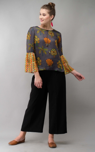 Grey Tree Women Top Colorful Printed Modal Satin