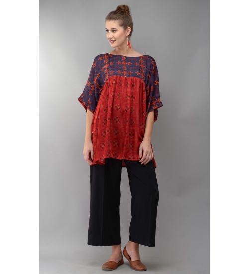 Red Women Tunic Colorful Printed Modal Satin