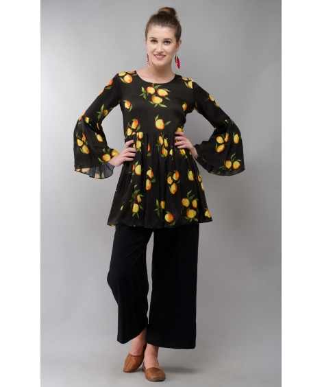 Mango Black Women Tunic Colorful Printed Modal Satin