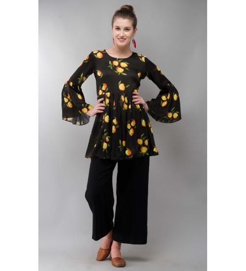 Mango Black Women Tunic Colorful Printed Modal Satin
