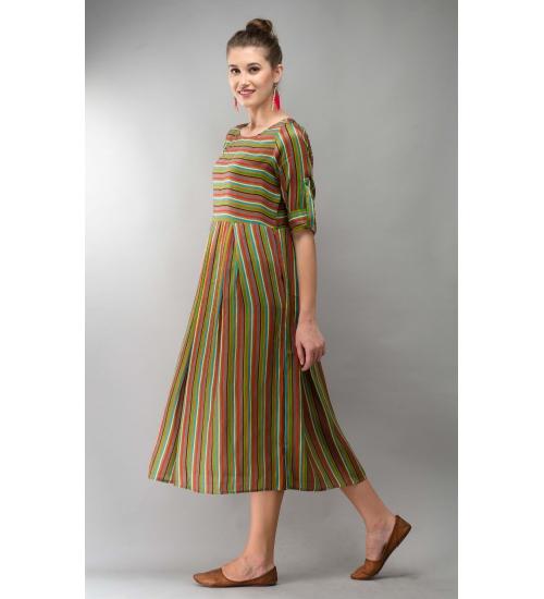 Printed Modal Grey Stripe Dress