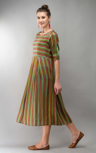 Grey Stripe Women Dress Colorful Printed Modal Satin