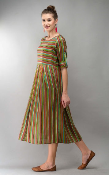 Printed Modal Grey Stripe Dress