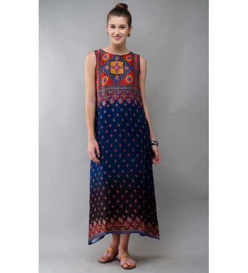 Classic Women Long Dress Colorful Printed Modal Satin