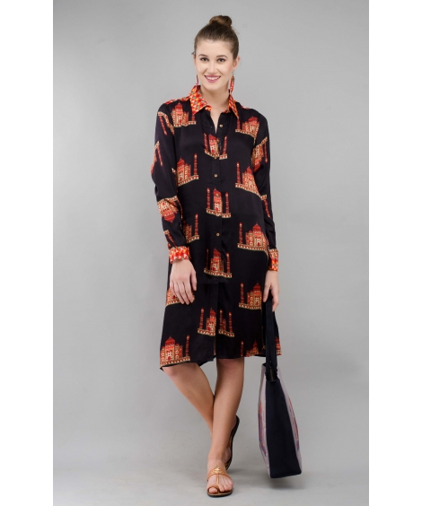 Printed Modal Black Taj Shirt Tunic