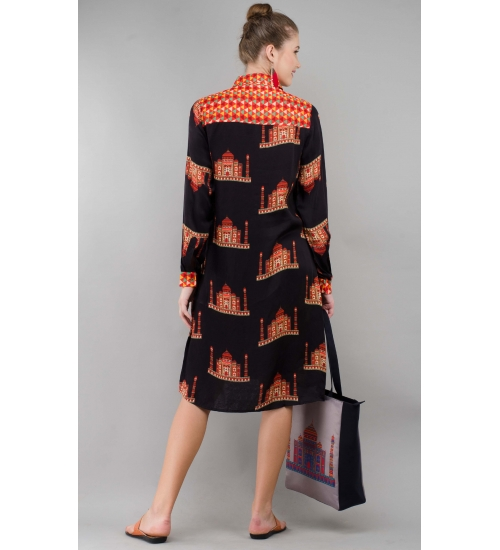 Black Taj Women Shirt Tunic Colorful Printed Modal Satin