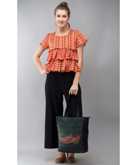Printed Modal Red Frill Top