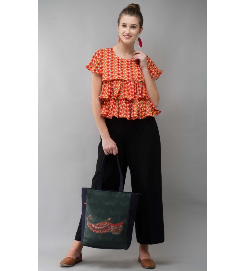 Red Frill Women Top Colorful Printed Modal Satin