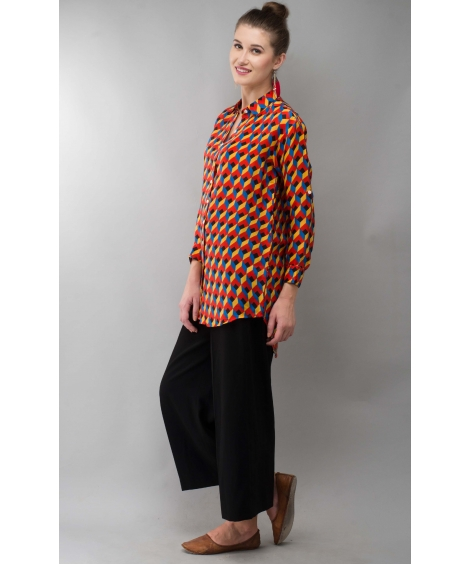 Geo Women Shirt Printed Colorful Modal Satin
