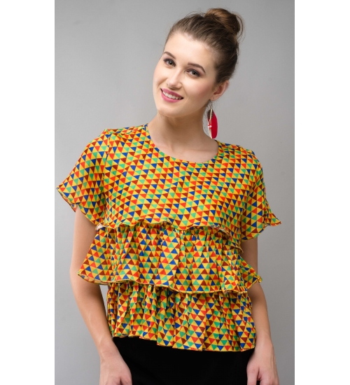 Printed Modal Yellow Frill Top