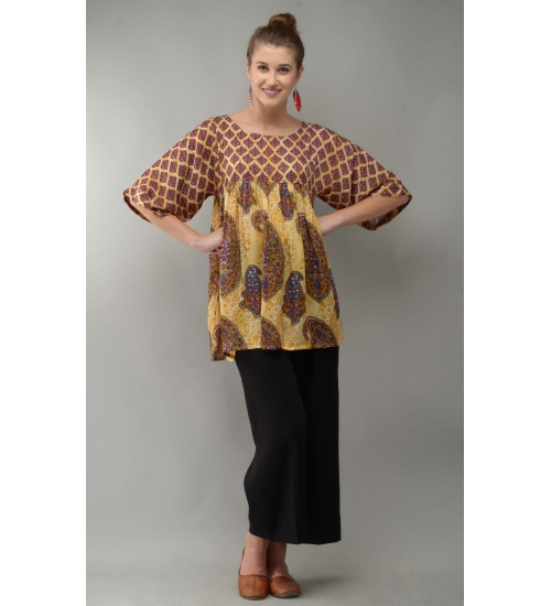Paisley Women Tunic Colorful Printed Modal Satin