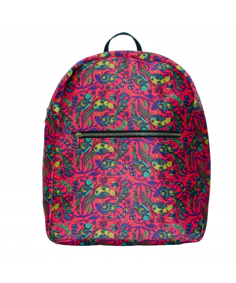 Parrot Colorful Printed Poly-Satin Suede Women Backpack