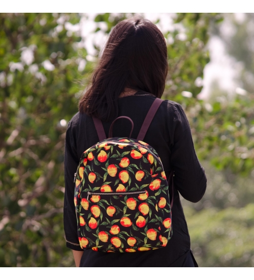 Mango Colorful Printed Poly-Satin Suede Women Backpack