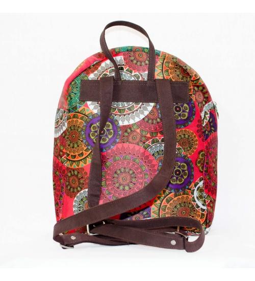 Mandala Colorful Printed Poly-Satin Suede Women Backpack