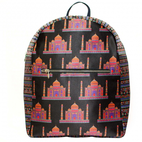 Taj Printed Polysatin Suede Women Backpack