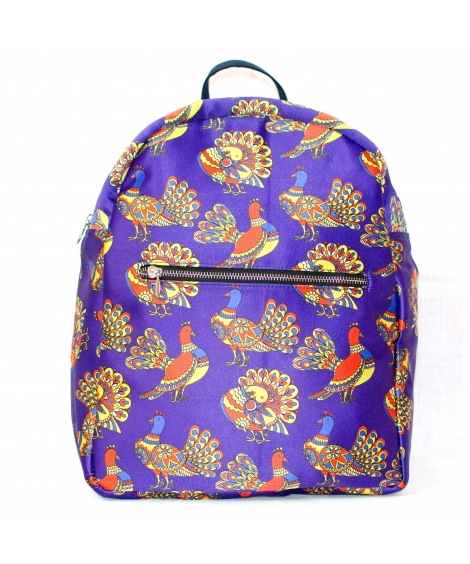 Bird Printed Polysatin Suede Women Backpack