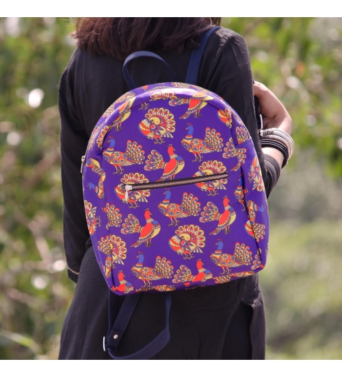 Bird Colorful Printed Poly-Satin Suede Women Backpack