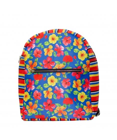 Hibiscus Printed Polysatin Suede Women Backpack
