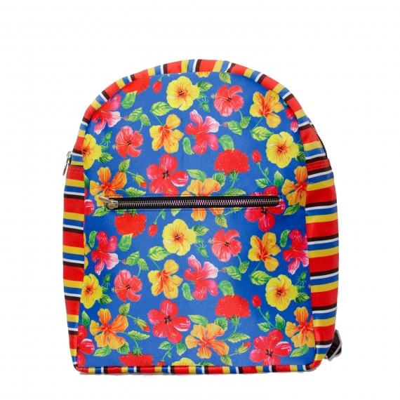 Hibiscus Colorful Printed Poly-Satin Suede Women Backpack