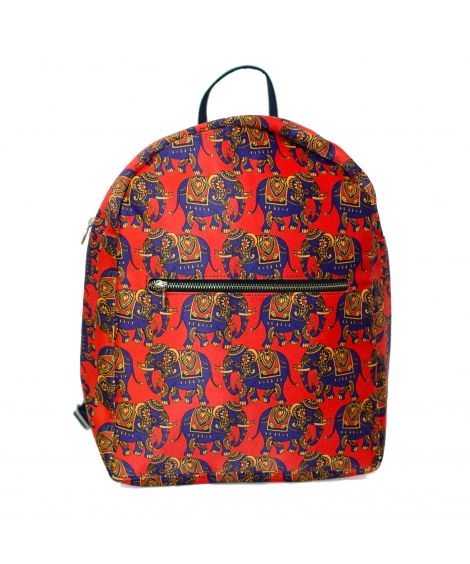 Elephant Colorful Printed Poly-Satin Suede Women Backpack