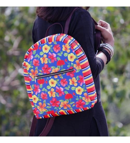 Hibiscus Printed Backpack