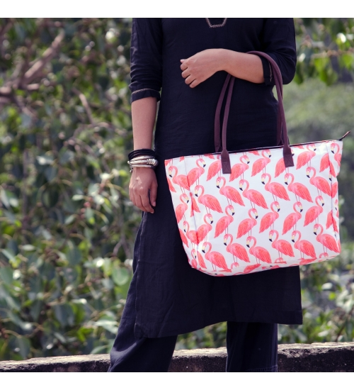 Flamingo Bird Colorful Printed Women Big Bag