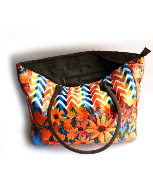 Hand-painted Sunflower Colorful Printed Poly-Satin Suede Women Big Bag