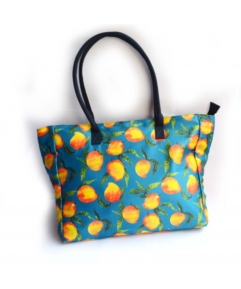 Hand-painted Mango Colorful Printed Poly-Satin Suede Women Big Bag