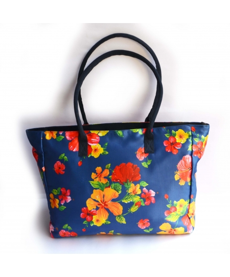 Hand-painted Hibiscus Printed Women Big Bag