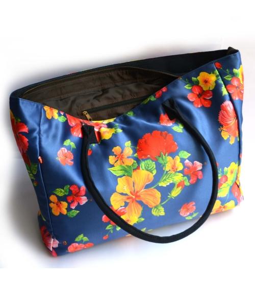 Hand-painted Hibiscus Printed Women Big Bag