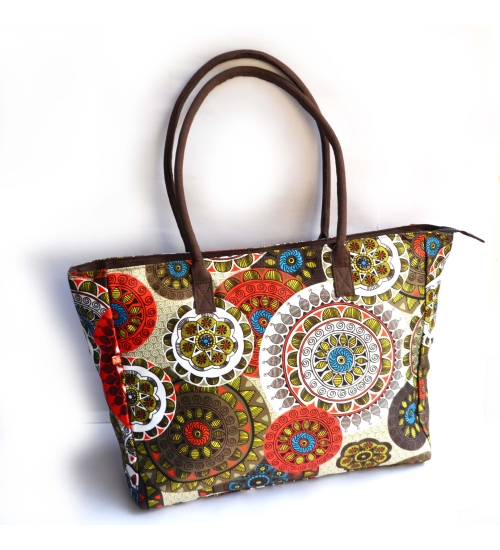 Mandala Colorful Printed Poly-Satin Suede Women Big Bag