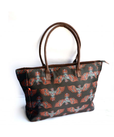 Bird Colorful Printed Poly-Satin Suede Women Big Bag