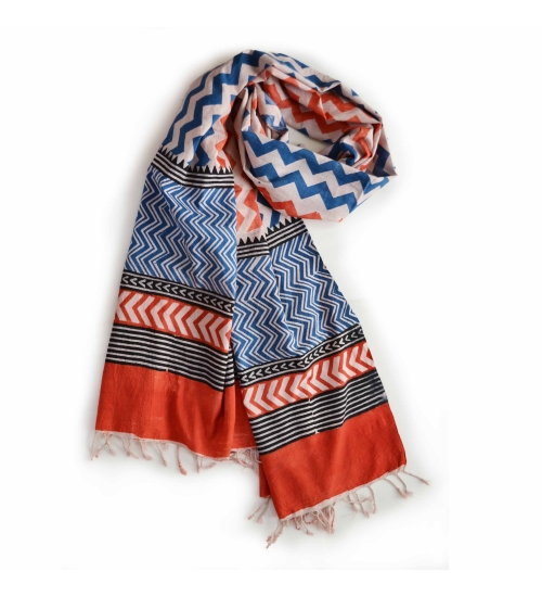 Colorful Hand Block Printed Cotton Stole 1