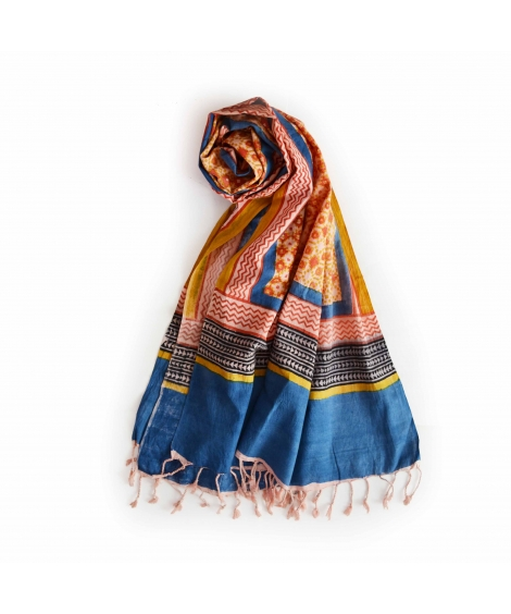 Colorful Hand Block Printed Cotton Stole 7