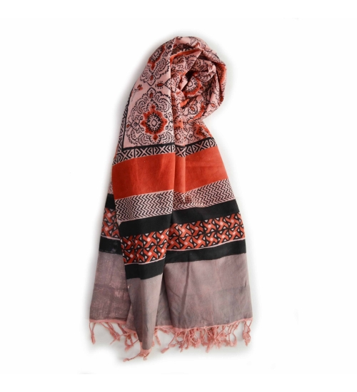 Colorful Hand Block Printed Cotton Stole 8