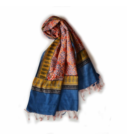 Colorful Hand Block Printed Cotton Stole 10