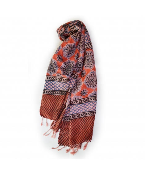 Colorful Hand Block Printed Cotton Stole 11