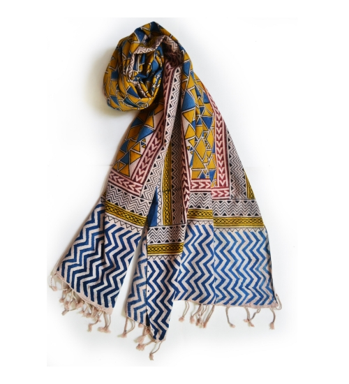 Colorful Hand Block Printed Cotton Stole 14