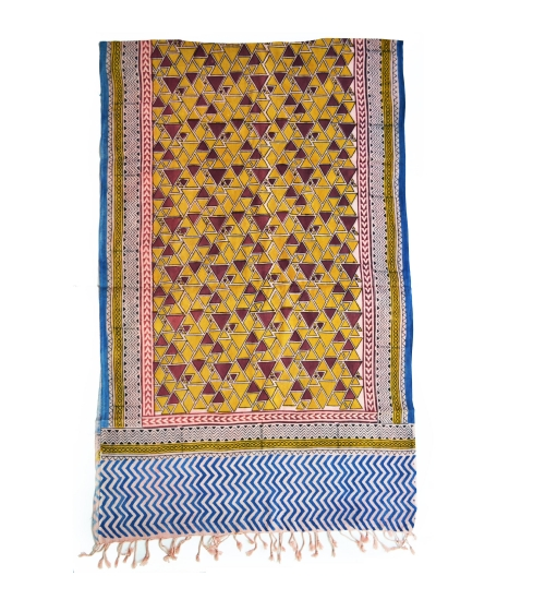 Colorful Hand Block Printed Cotton Stole 16