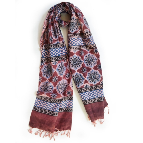 Colorful Hand Block Printed Cotton Stole 17