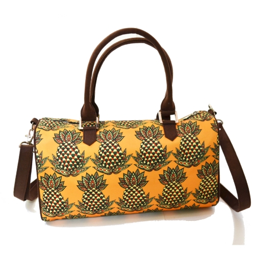 Pineapple Colorful Printed Poly-Satin Suede Women Duffle Bag