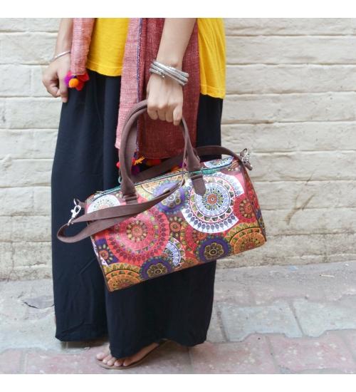 Mandala Colorful Printed Poly-Satin Suede Women Duffle Bag
