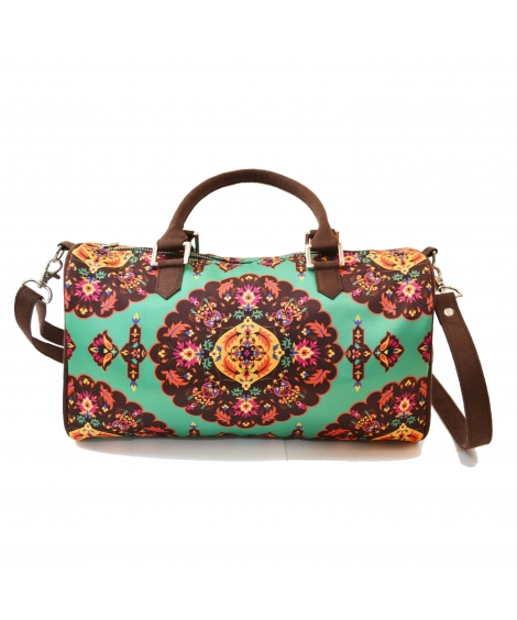 Oriental Colorful Printed Poly-Satin Suede Women Duffle Bag