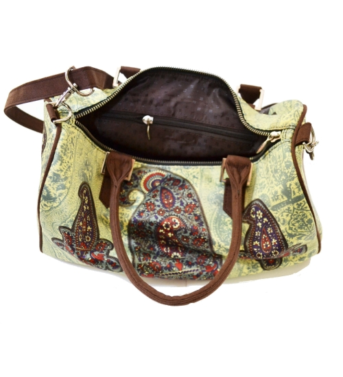 Paisley Colorful Printed Poly-Satin Suede Women Duffle Bag