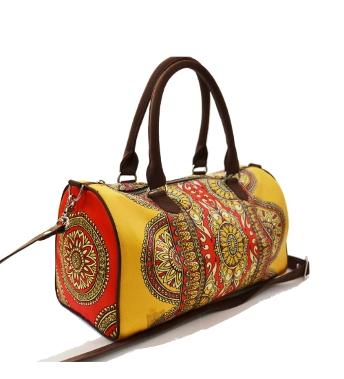 Deco Colorful Printed Poly-Satin Suede Women Duffle Bag