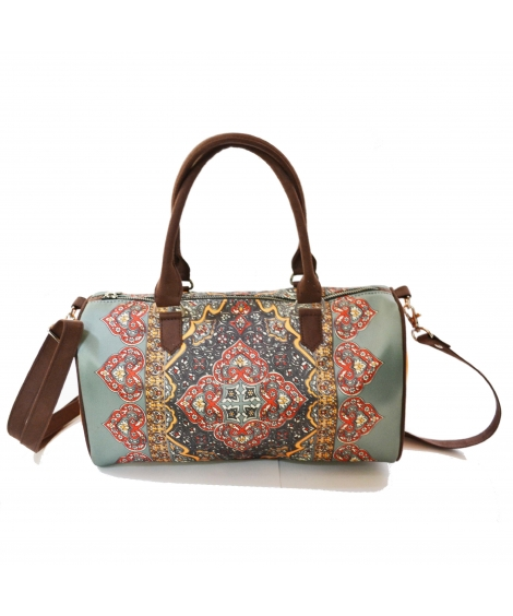 Rug 2 Colorful Printed Poly-Satin Suede Women Duffle Bag